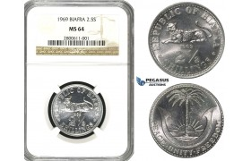R594, Biafra, 2 1/2 Shillings 1969, NGC MS64