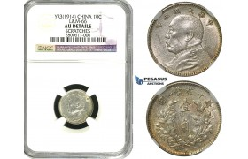 """R597, China """"Fat man"""" 10 Cents Year 3 (1914) Silver, L&M 66, NGC AU Det."""