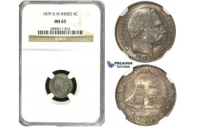 R598, Danish West Indies, Christian IX, 5 Cents 1879, Silver, NGC MS65 (Pop 1/0, Finest!)