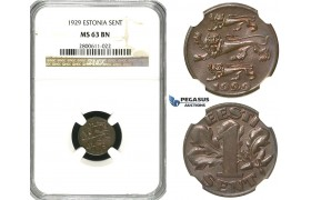 R600, Estonia, 1 Sent 1929, NGC MS63BN