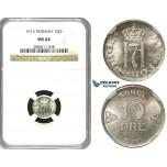 R606, Norway, Haakon VII, 10 Øre 1913, Kongsberg, Silver, NGC MS64