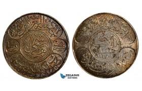 R610, Saudi Arabia, Hejaz, 20 Piastres AH1334/8, Silver, Dark Toned AU