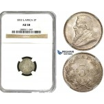 R611, South Africa (ZAR) Threepence (3 Pence) 1893, Silver, NGC AU58
