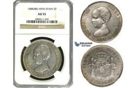 R612, Spain, Alfonso XIII, 5 Pesetas 1888 (88) MPM, Madrid, Silver, NGC AU55