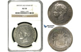 R613, Spain, Alfonso XIII, 5 Pesetas 1897 (97) SGV, Valencia, Silver, NGC AU58