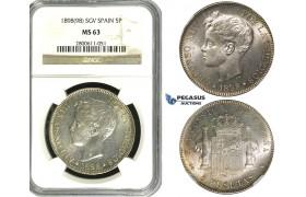 R614, Spain, Alfonso XIII, 5 Pesetas 1898 (98) SGV, Valencia, Silver, NGC MS63