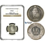 R615, Switzerland, 1 Franc 1956-B, Bern, Silver, NGC SP63