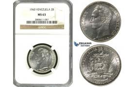 R618, Venezuela, 2 Bolivares 1960, Paris, Silver, NGC MS63
