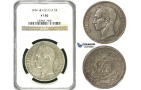 R619, Venezuela, 5 Bolivares 1924, Silver, NGC XF40