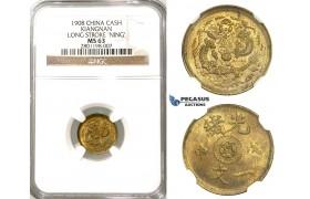 "R623, China, Kiangnan, 1 Cash 1908, Long Stroke ""Ning"" Y-7K, NGC MS63"