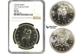 "R626, Macau, 100 Patacas 1991 Lunar series ""Goat"" Silver, NGC MS69"