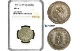 R629, Norway, Oscar II, 1 Krone 1877, Kongsberg, Silver, NGC XF45