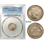 R639, United States, Barber Dime (10C) 1908-S, San Francisco, Silver, PCGS MS62