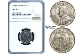 R648, Canada, George V, 5 Cents 1922, NGC MS64