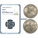 R649, Canada, George V, 5 Cents 1928, NGC MS64