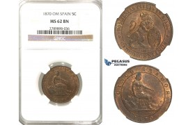 R65, Spain (Provincial Government) 5 Centimos 1870-OM, Barcelona, NGC MS62BN