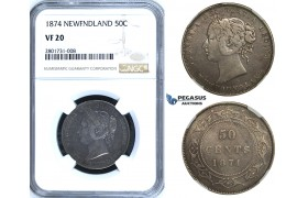 R651, Canada, Newfoundland, Victoria, 50 Cents 1874, Silver, NGC VF20