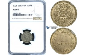 R656, Estonia, 1 Mark 1926, NGC MS64
