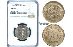 R657, Estonia, 50 Senti 1936, NGC MS63