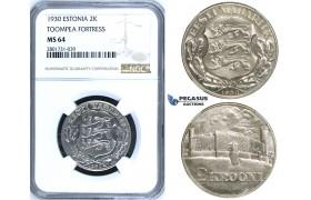 "R658, Estonia, 2 Krooni 1930 ""Toompea Fortress"" Silver, NGC MS64"
