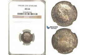 R66, Spain, Alfonso XIII, 50 Centimos 1900 (00) SM-V, Madrid, Silver, NGC MS64