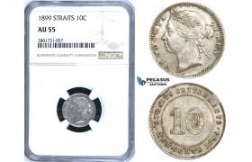 R669, Straits Settlements, Victoria, 10 Cents 1899, Silver, NGC AU55