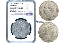 R671, Venezuela, 5 Bolivares 1919, Philadelphia, Silver, NGC VF Det.