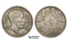 R676, Iraq, Faisal, 1 Riyal AH1350 (1932) Silver, Toned XF