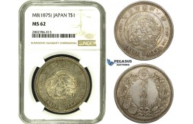 R678, Japan, Meiji, Trade Dollar Yr. 8 (1875) Silver, JNDA 01-12, NGC MS62, Rare Grade!
