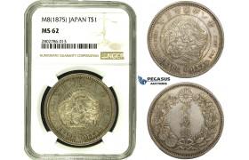R678, Japan, Meiji, Trade Dollar Yr. 8 (1875) Silver, JNDA 01-12, NGC MS62, Rare Grade!
