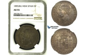 R680, Spain, Alfonso XIII, 5 Pesetas 1885 (86) MSM, Madrid, Silver, NGC AU55