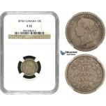 R684, Canada, Victoria, 10 Cents 1875-H, Heaton, Silver, NGC F12, Rare!