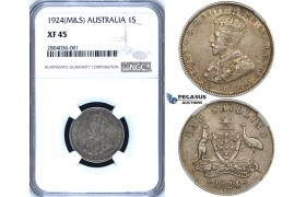 R686, Australia, George V, 1 Shilling 1924 (M&S) Melbourne & Sydney, Silver, NGC XF45