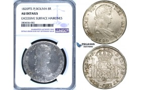 R687, Bolivia, Ferdinand VII, 8 Reales 1820-PTS PJ, Potosi, Silver, NGC AU Details.