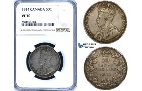 R689, Canada, George V, 50 Cents 1914, Silver, NGC VF30