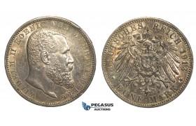 R69, Germany, Württemberg, Wilhelm II, 5 Mark 1913-F, Stuttgart, Silver, High Grade & Fine Toning