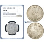 R690, Canada, George V, 50 Cents 1918, Silver, NGC AU58