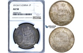 R696, French Indo-China, Piastre 1913-A, Paris, Silver, NGC AU58