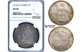 R696, French Indo-China, Piastre 1913-A, Paris, Silver, NGC AU58