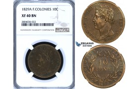 R697, French Colonies, Charles X, 10 Centimes 1829-A, Paris, NGC XF40BN