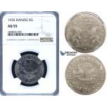 R702, Poland, Danzig, 5 Gulden 1935, Nickel, NGC AU55