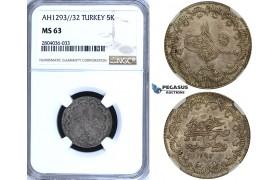 R707, Ottoman Empire, Turkey, Abdülhamid II, 5 Kurush AH1293/32, Silver, NGC MS63