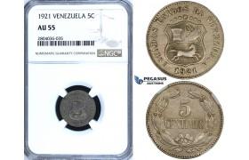 R708, Venezuela, 5 Centimos 1921, NGC AU55