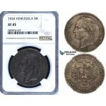 R710, Venezuela, 5 Bolivares 1924, Silver, NGC XF45