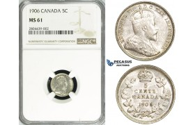 R711, Canada, Edward VII, 5 Cents 1906, Silver, NGC MS61