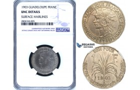 R720, Guadelupe, 1 Franc 1903, NGC UNC Details