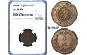 R722, Japan, Meiji, 1/2 Sen Year 8 (1875) NGC AU58BN