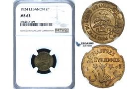 R723, Lebanon, 2 Piastres 1924, NGC MS63