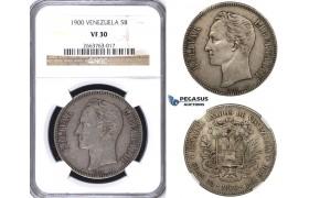 R724, Venezuela, 5 Bolivares 1900, Paris, Silver, NGC VF30