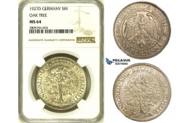 R728, Germany, Weimar, 5 Reichmark 1927-D, Munich, Silver, NGC MS64